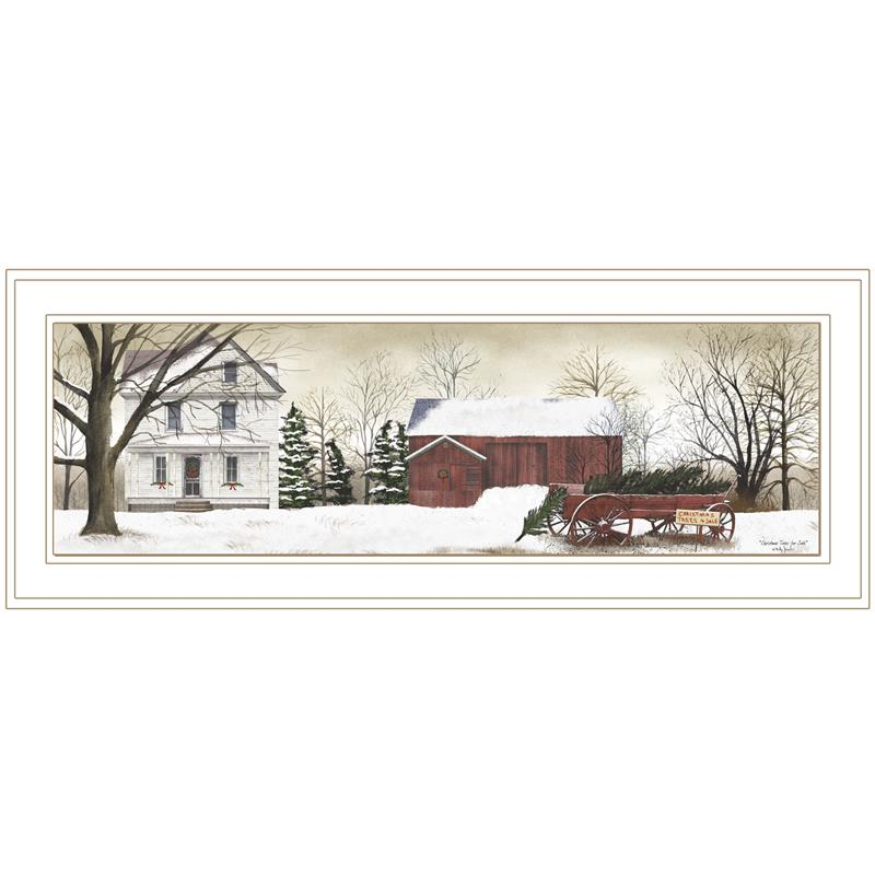"""/""""Christmas Trees for Sale/"""" By Billy Jacobs Framed Print Black"""