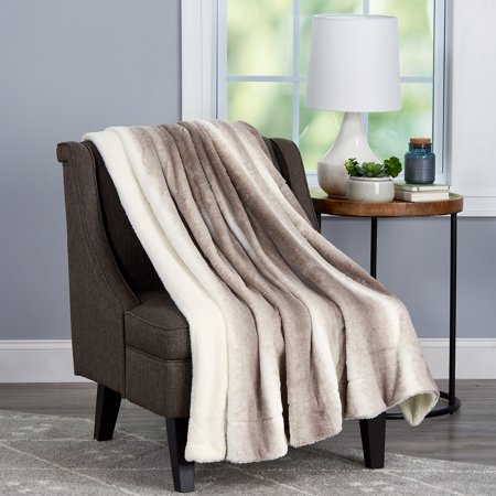 """Faux Fur Throw Blanket- Luxurious, Soft, Hypoallergenic Faux Rabbit Fur Blanket with Sherpa Back - 60""""x70"""" By Somerset Home (Cream Beige)"""