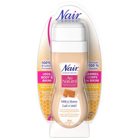 Nair Roll-On Milk and Honey Sugar Wax for Dry & Sensitive Skin 3.4 Ounce/100ml 3.4