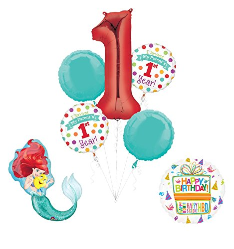 """Little Mermaid """"I Survived My Parents First Year"""" 1st Birthday Party Supplies"""