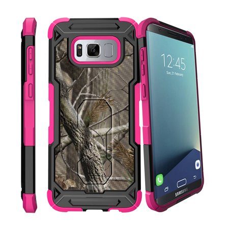 - Case for Samsung Galaxy S8 Plus Version [ UFO Defense Case ][Galaxy S8 PLUS SM-G955][Pink Silicone] Carbon Fiber Texture Case with Holster + Stand Camo Collection