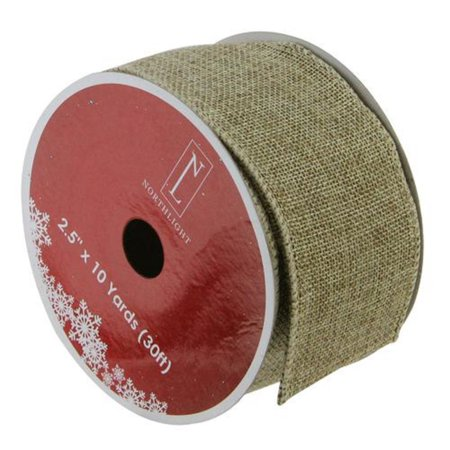 Faded Green and Brown Burlap Wired Christmas Craft Ribbon 2.5