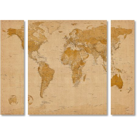 Trademark fine art antique world map canvas art by michael trademark fine art antique world map canvas art by michael tompsett three panel set gumiabroncs Image collections