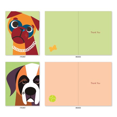 'M6632TYG CUBIC CANINES' 10 Assorted Thank You Note Cards Featuring Funky Portraits of Best Loved Dog Friends, with Envelopes by The Best Card