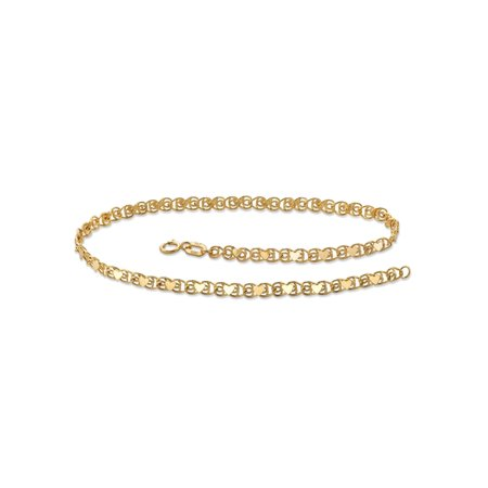 "10k Yellow Gold Heart-Link Ankle Bracelet 9.25"""