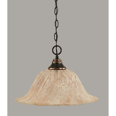 Toltec 1 Light Pendant Shown In Black Copper Finish with Glass Shade