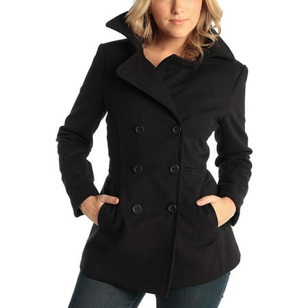 Flap Pocket Wool Blazer - Alpine Swiss Emma Womens Peacoat Double Breasted Overcoat 3/4 Length Wool Blazer Black Medium