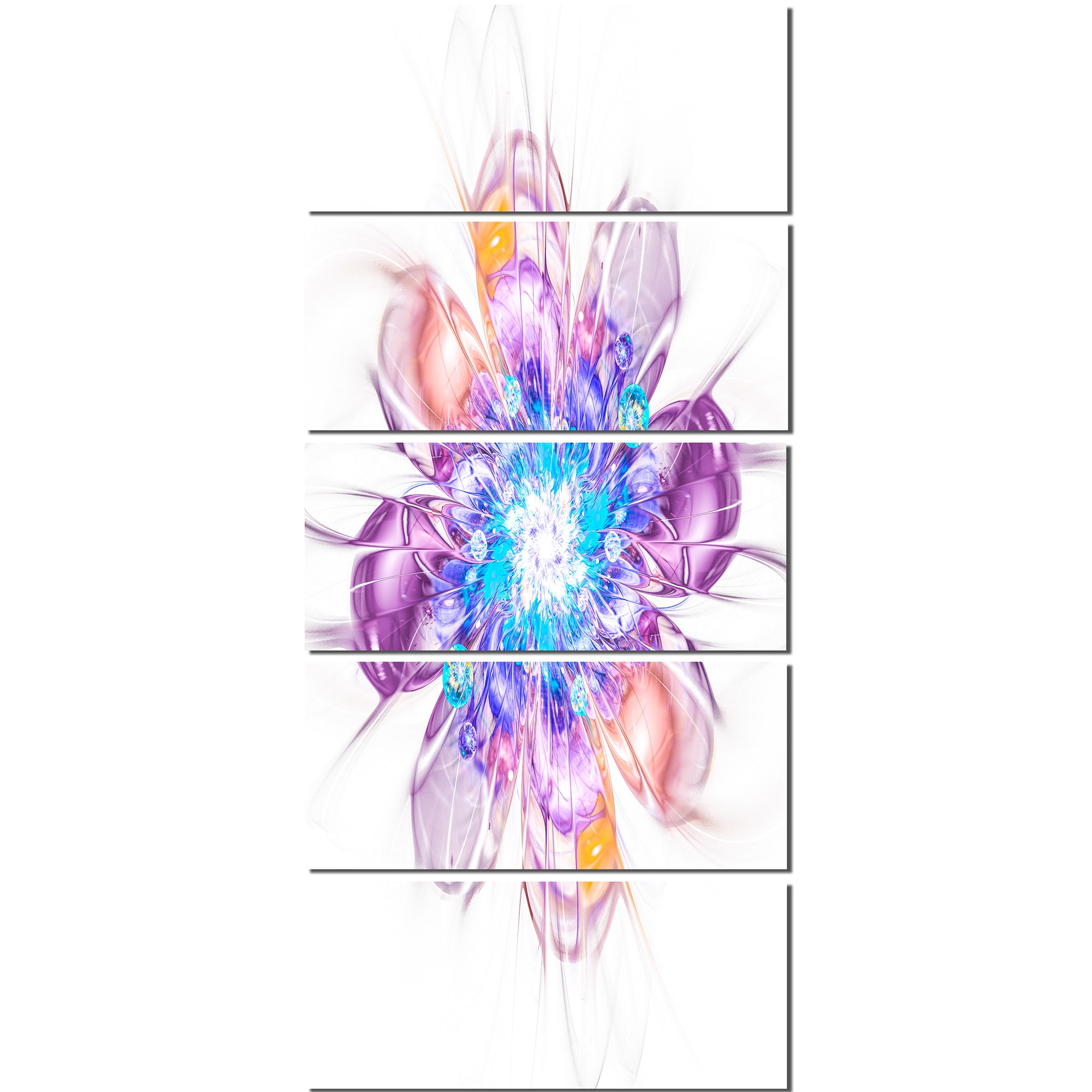 Design Art Perfect Fractal Flower 5 Piece Graphic Art On Wrapped Canvas Set Walmart Com Walmart Com