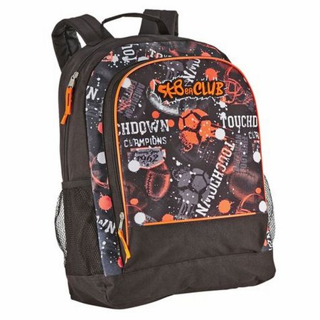 Orange & Black Sports Themed Backpack School Travel Back Pack (Orange Backpack)