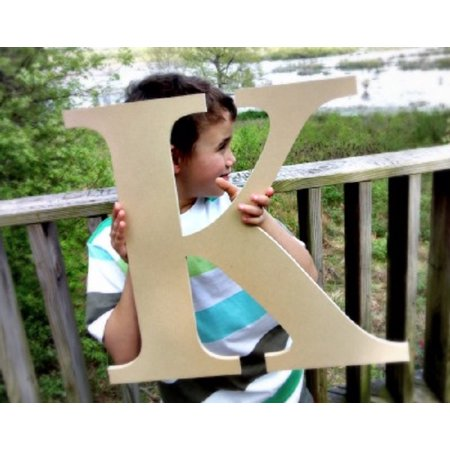 Unfinished Wood Letter, Times K 18'' Wall Craft