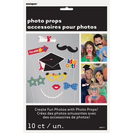 Graduation Photo Booth Props, 10pc - Photo Booth Fun Props