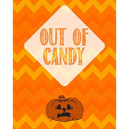 Out Of Candy Print Pumpkin Picture Halloween Decoration Orange Yellow Chevron Design Background Pattern Wall Hanging Seasonal - Halloween Wall Hanging Patterns