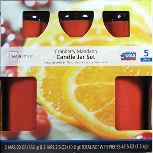 Mainstays 5 Pc Candle Jar Set Cranberry Mandarin