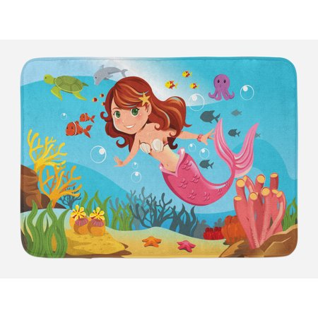Underwater Bath Mat, Fairy Mermaid Swimming Underwater in the Ocean Smiles Cheerful Happiness Theme, Non-Slip Plush Mat Bathroom Kitchen Laundry Room Decor, 29.5 X 17.5 Inches, Multicolor, Ambesonne (Mermaid Themed Gifts)