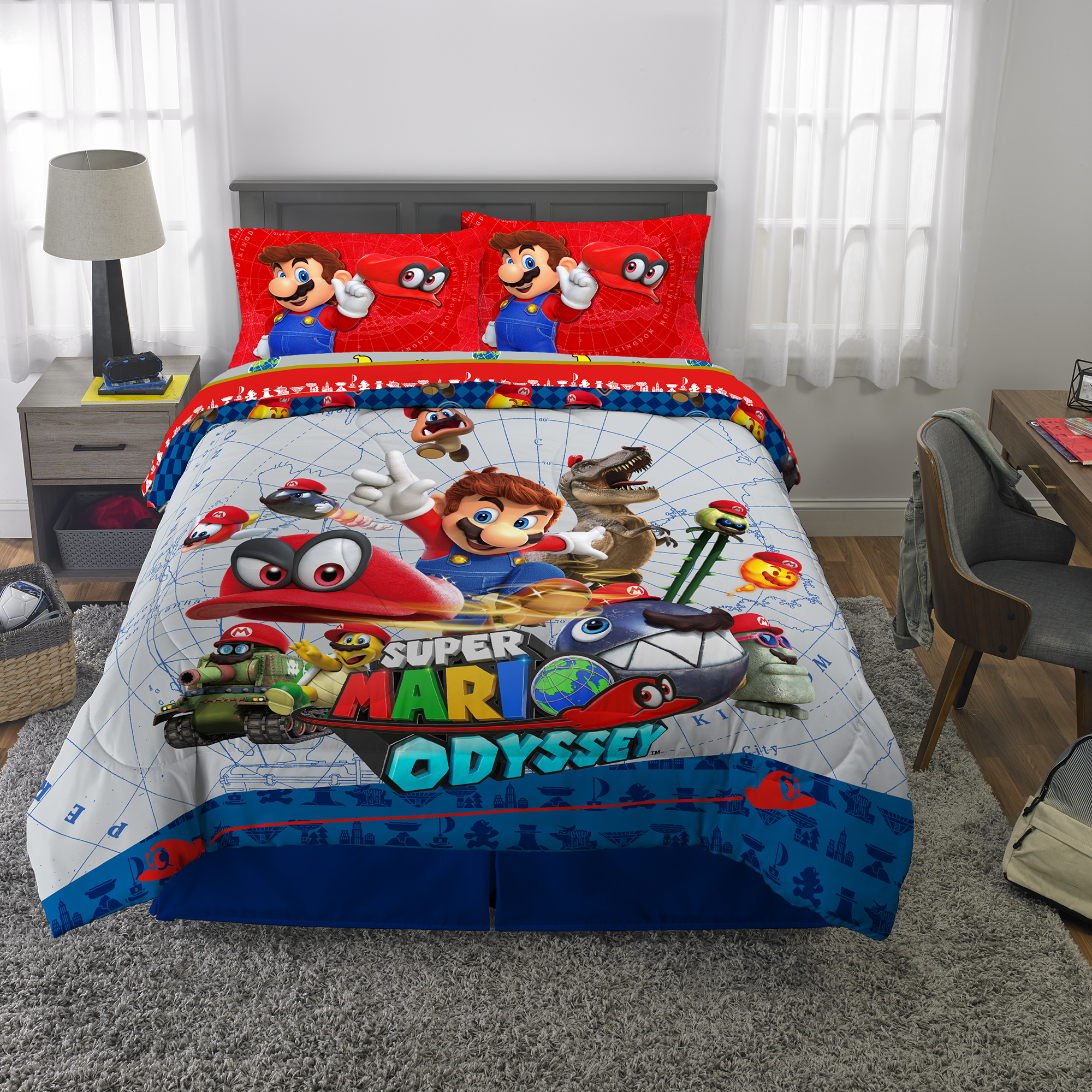 Picture of: Super Mario Odyssey Bed In A Bag Kids Bedding Bundle Set 5 Piece Full Walmart Com Walmart Com