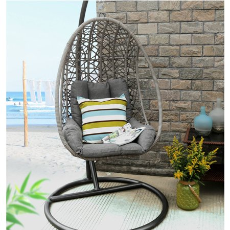 Baner Garden X25 Outdoor Egg-Shaped Swing Chair, Black ...