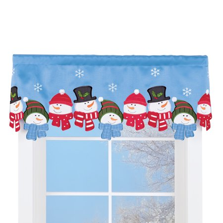 Festive Snowman Cut Out Window Valance Curtain with Embroidered Snowflakes- Holiday Home Decor - Snowman Cut Out