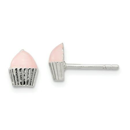 925 Sterling Silver Childrens Enameled Cupcake Post Stud Earrings Food Drink Silver Enamel Earrings