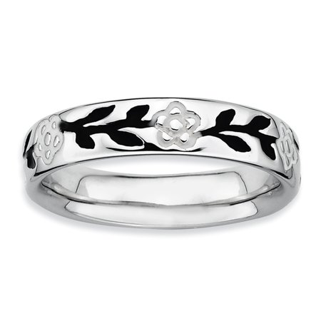 Diamond Flower Stackable Ring - 925 Sterling Silver Enameled Flower Band Ring Size 8.00 Stackable Gifts For Women For Her