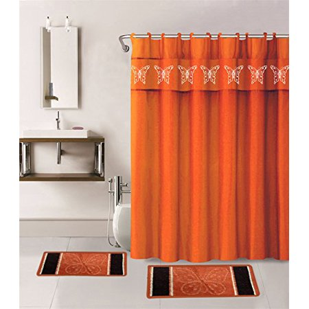 15-piece Hotel Bathroom Sets - 2 Non-Slip Bath Mats Rugs Fabric Shower Curtain 12-Hooks  BUTTERFLY ORANGE