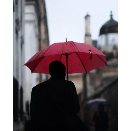 Rainman Poster - Peel-n-Stick Poster of Guy Blur People Man Silhouette Umbrella Rain Poster 24x16 Adhesive Sticker Poster Print