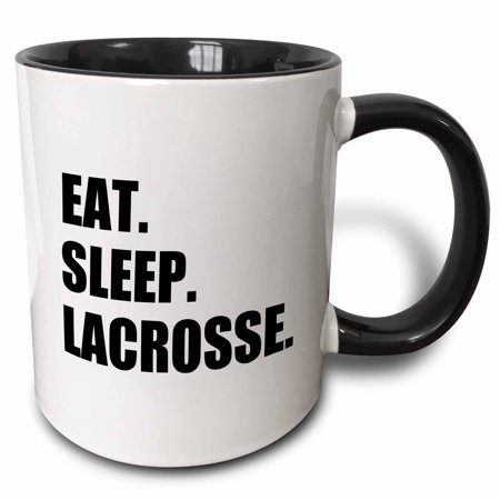 3dRose Eat Sleep Lacrosse - gifts for sport enthusiasts lax crosse black text - Two Tone Black Mug, 11-ounce