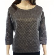 Halogen NEW Gray Gold Quilted Women's Size Small S Crewneck Sweater
