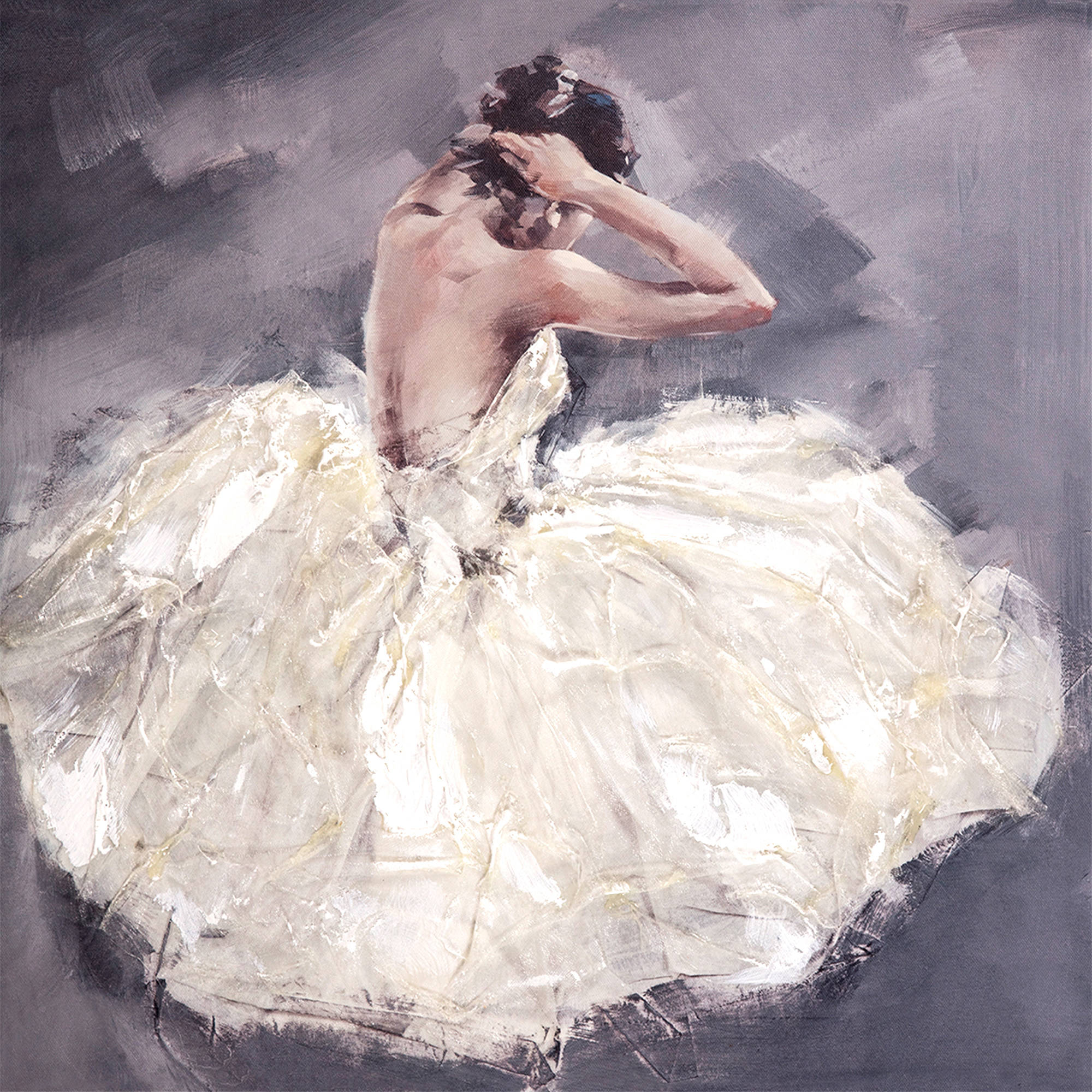 Abstract Ballerina - Textured White Dress Canvas Art Mixed Media 20 x 20 in.