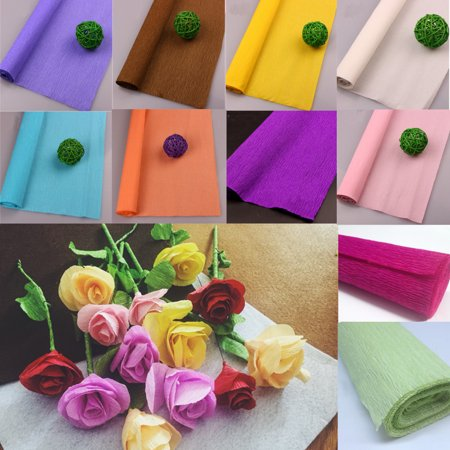 Moaere 99''X20'' Rainbow Crepe Paper Rolls Tissue Paper Sheets Tablecloth 10 Colors Available ()