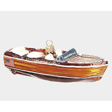 Vintage Mahogany Boat Polish Mouth Blown Glass Christmas Ornament Decoration - Boat Decorations