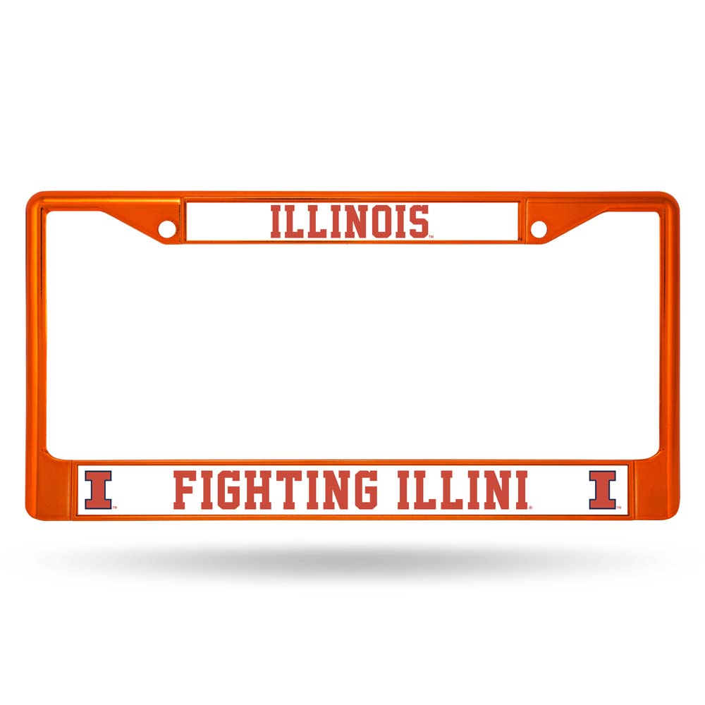 Illinois Fighting Illini Metal License Plate Frame - Orange