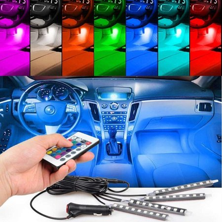 TSV  4pcs 36 LED Multi-color Car Interior Lights Under Dash Lighting Waterproof Kit with Multi-Mode Change and Wireless Remote Control, Car Charger Included,DC 12V