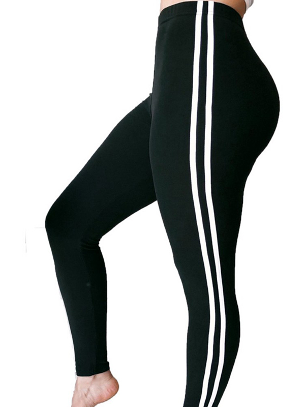 EFINNY Sexy Women Solid Color Side Striped Sweatpants High Waist Sports Pants