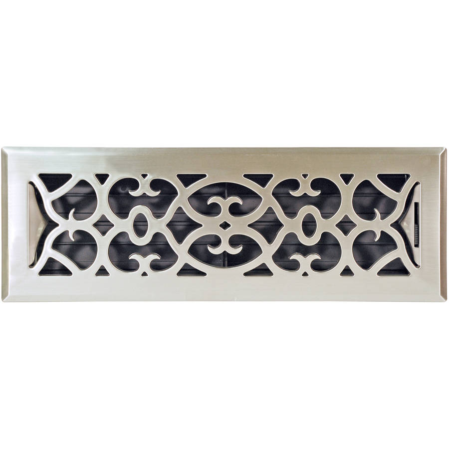 "Image of Plastic Floor Register, Satin Nickel Finish, Victorian Design, 4"" x 14"""