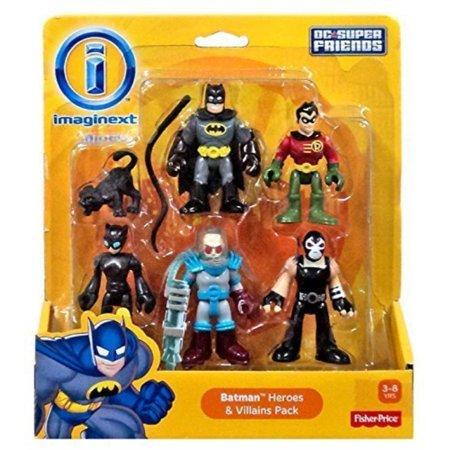 Imaginext DC Super Friends - Batman Heroes & Villains Pack with Batman Robin Catwoman Mr. Freeze and Bane](Female Batman Characters And Villains)