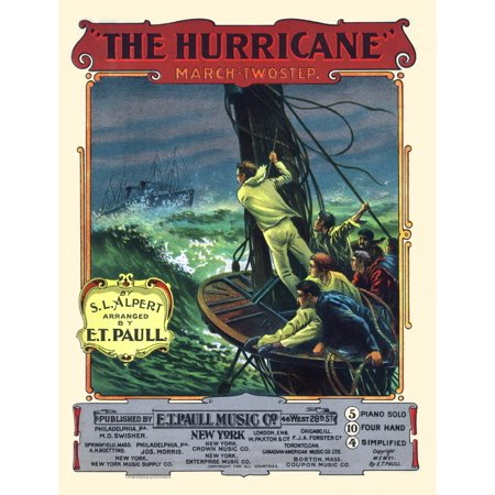 Vintage sheet music by the Edward Taylor Paull entitled The Hurricane Poster Print by A Hoen &