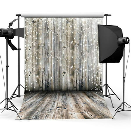NK HOME Studio Photo Video Photography Backdrops 3x5ft Rustic Wood Planks Lights Printed Vinyl Fabric Background Screen - Backdrop Fabric