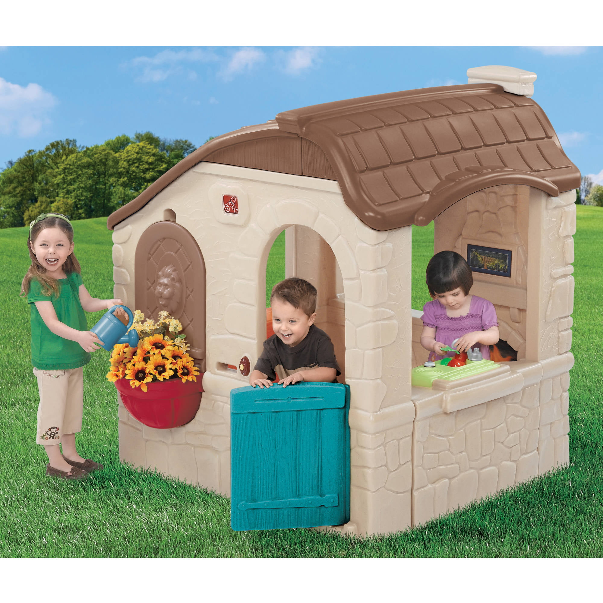 Step2 Naturally Playful Countryside Cottage, Tan Brown, Features a Mail Slot, Play Phone, and Realistic... by Generic