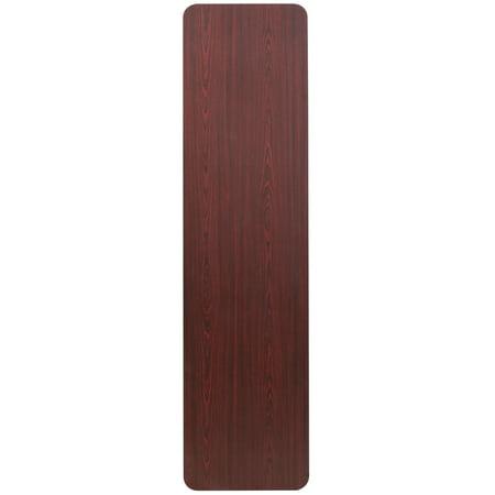 Flash Furniture 18'' x 72'' Rectangular Mahogany Melamine Laminate Folding Training Table