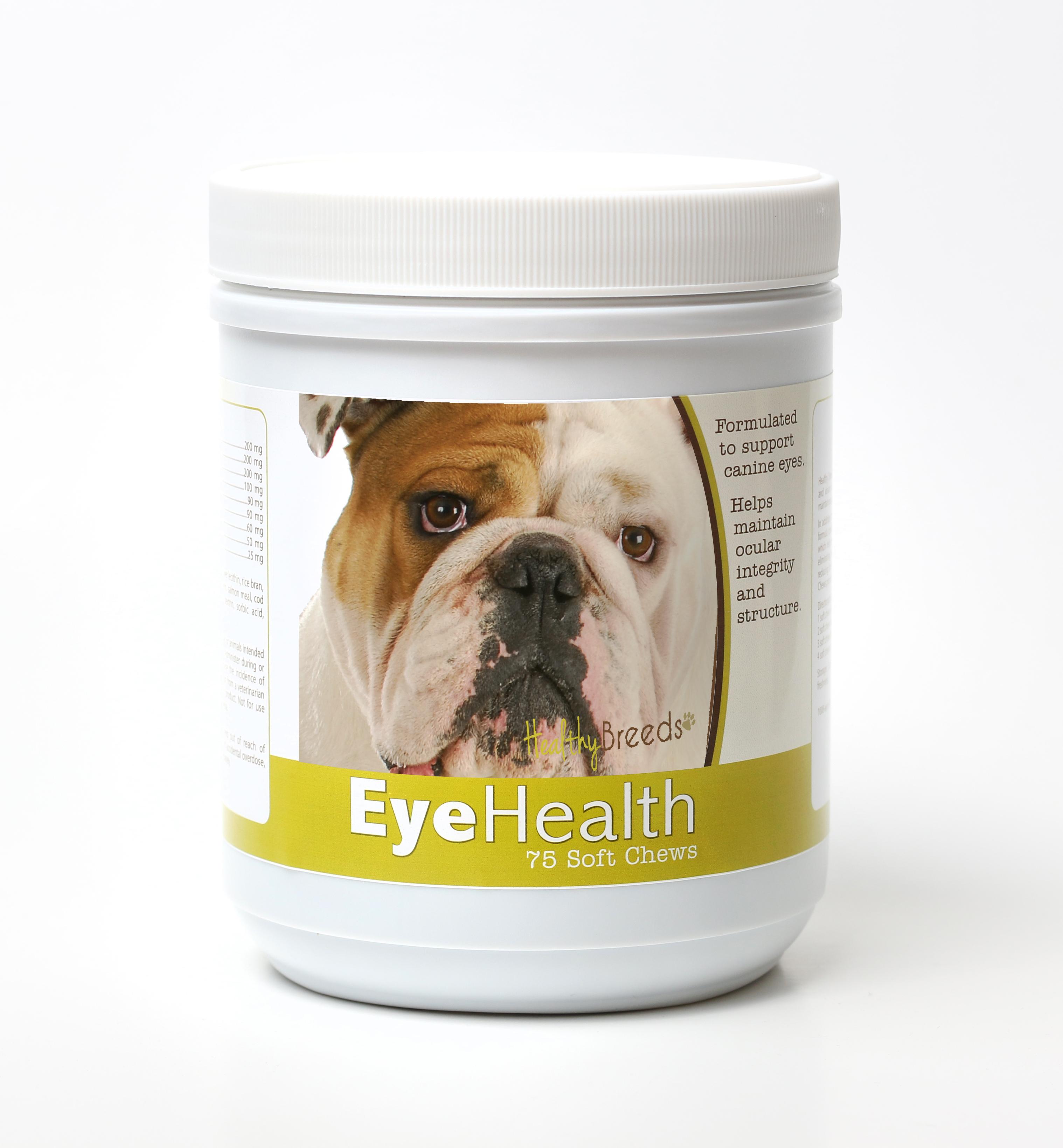 Healthy Breeds Dog Eye Health Support Soft Chews for Bulldog 75 Count