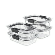 Rubbermaid Brilliance Glass Food Storage Containers, Set of 4 Food Containers with Lids (8 Pieces Total), BPA Free and Leak Proof