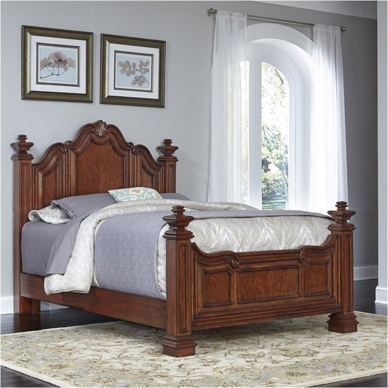 Bowery Hill Queen Poster Bed in Cognac by Bowery Hill