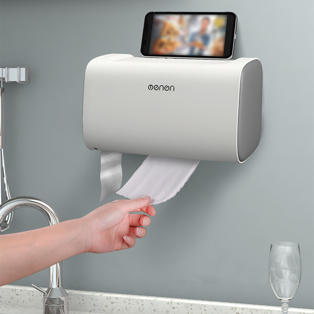 Festnight Paper Towel Dispenser Wall-Mounted No Drilling Paper Towel Holder Dispenser Bathroom Toilet Paper Dispenser Bin Bags Dispenser Home Kitchen Paper Extraction Dispenser Grey