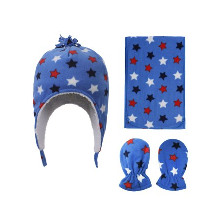 SimpliKids Patterned Sherpa Lined Hat, Scarf Glove Set, Star Print, 6-24 -