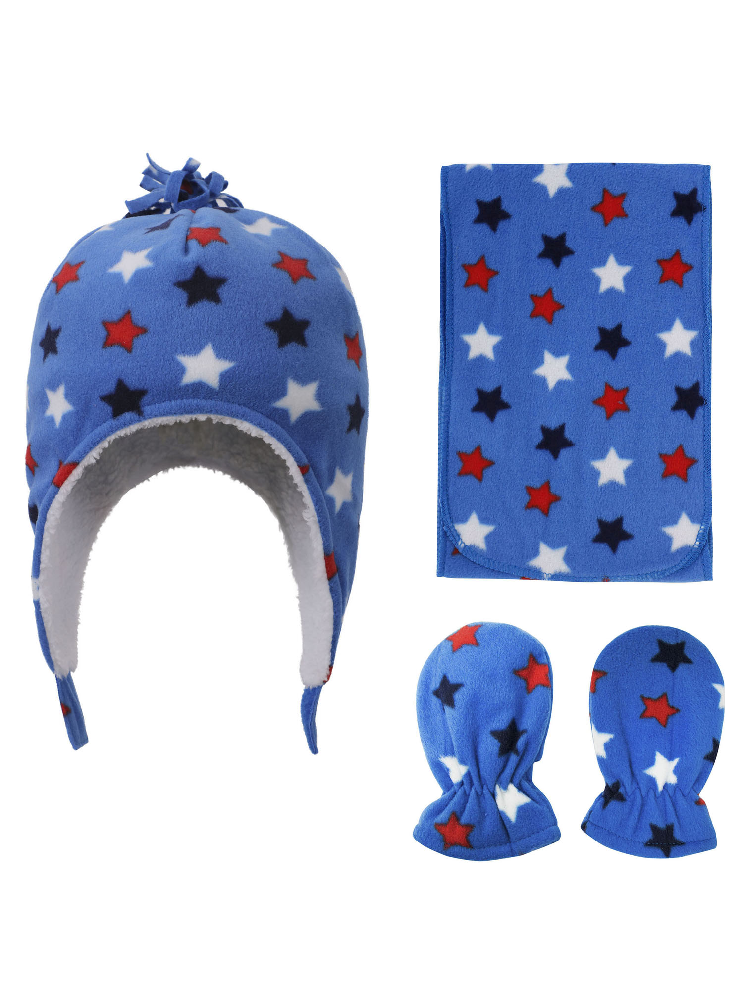 Simpli-Kids Patterned Sherpa Lined Hat, Scarf Glove Set, Star Print, 6-24 Month