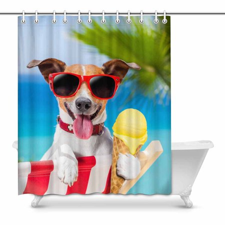 MKHERT Funny Jack Russell Dog Eating Ice Cream on Summer Beach Decor Waterproof Polyester Bathroom Shower Curtain Bath Decorations 60x72 (Best Way To Jack Off In The Shower)