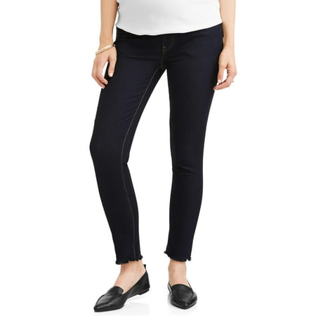 Oh! Mamma Maternity Full Panel Skinny Jeans with Released Hem - Available in Plus