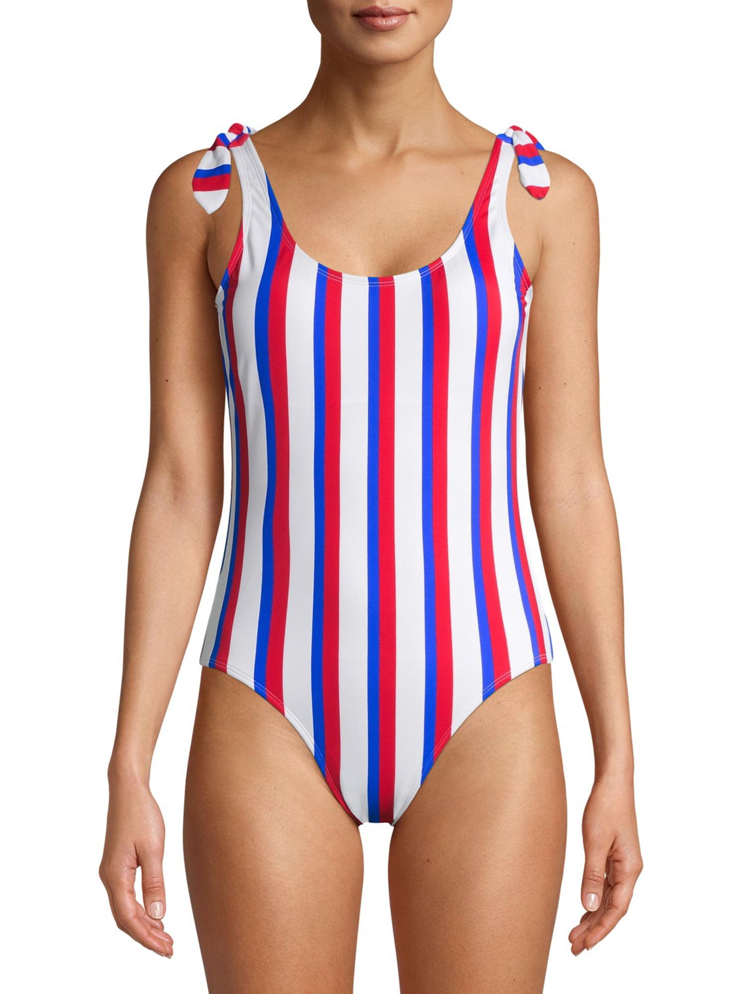 Details about  /ARIZONA Jr Black Stripe Mlt Swim Flounce Top or Side Braid Bottom FREE Shpg NWTA