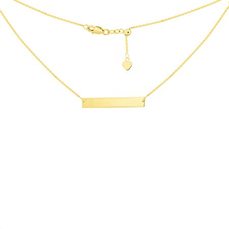 14K Yellow Gold Engraveable Bar Choker Necklace. Adjustable - Yellow Gold Choker Necklaces