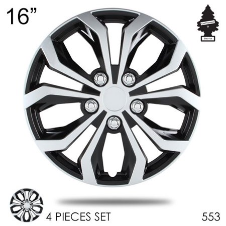 16 inch Hubcaps Spyder Performance Black and Silver Wheel Covers Hub Cap Full Lug Skin Set 553 with Air Freshener